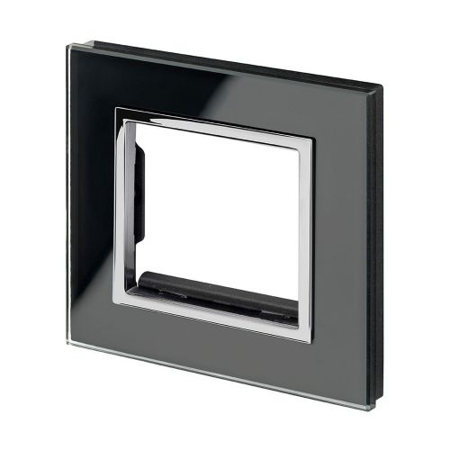 RetroTouch Euro Data Plate Single (2 Module Space) Black Glass CT 00174